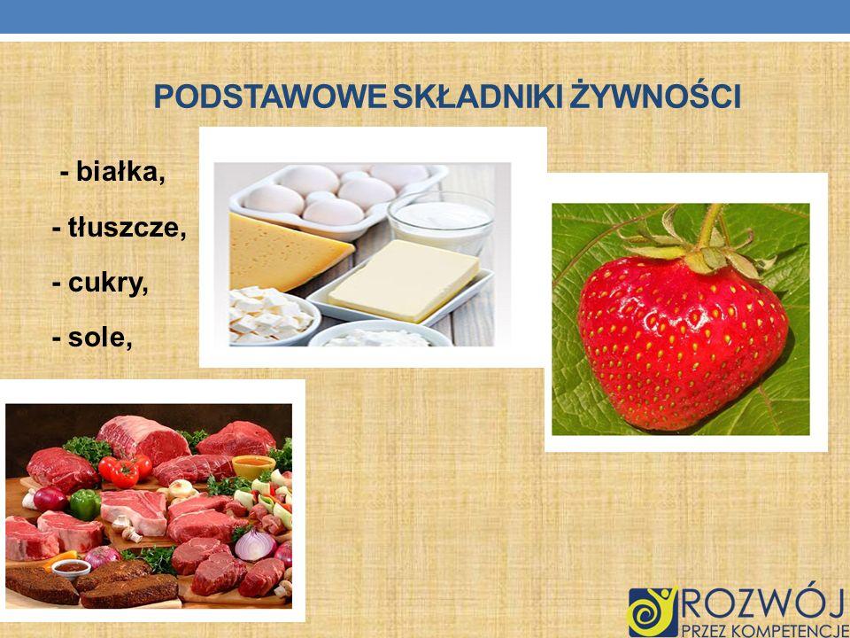 PODSTAWOWE SKŁADNIKI ŻYWNOŚCI - białka, - tłuszcze, - cukry, - sole, - witaminy.