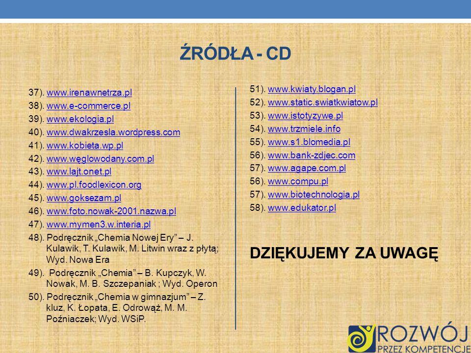 ŹRÓDŁA - CD 37). www.irenawnetrza.plwww.irenawnetrza.pl 38). www.e-commerce.plwww.e-commerce.pl 39). www.ekologia.plwww.ekologia.pl 40). www.dwakrzesl