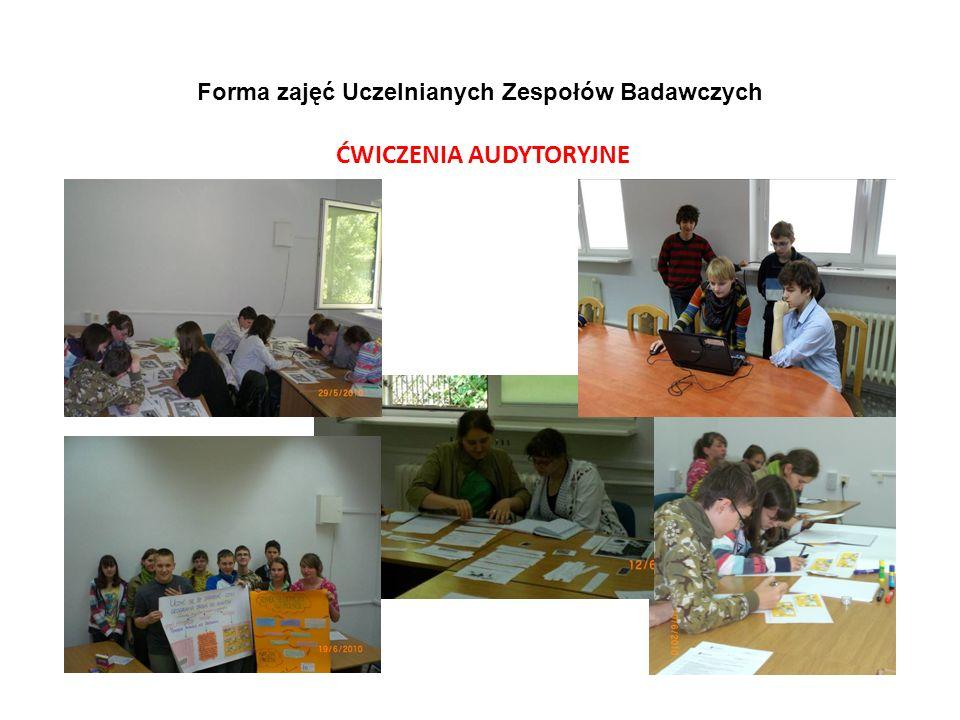 Forma zajęć Uczelnianych Zespołów Badawczych ĆWICZENIA AUDYTORYJNE