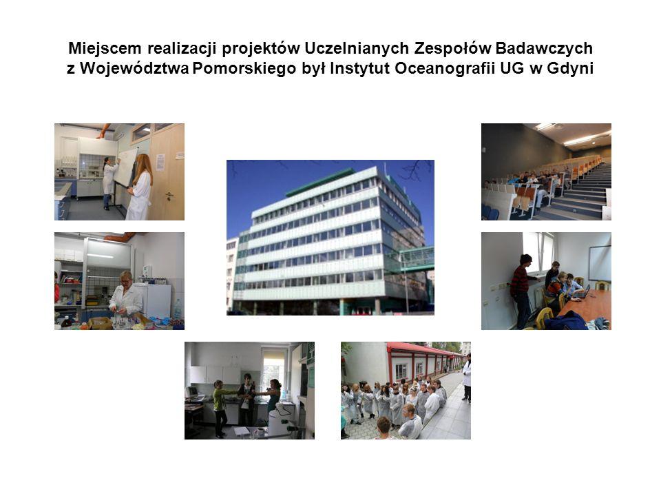 Miejscem realizacji projektów Uczelnianych Zespołów Badawczych z Województwa Pomorskiego był Instytut Oceanografii UG w Gdyni