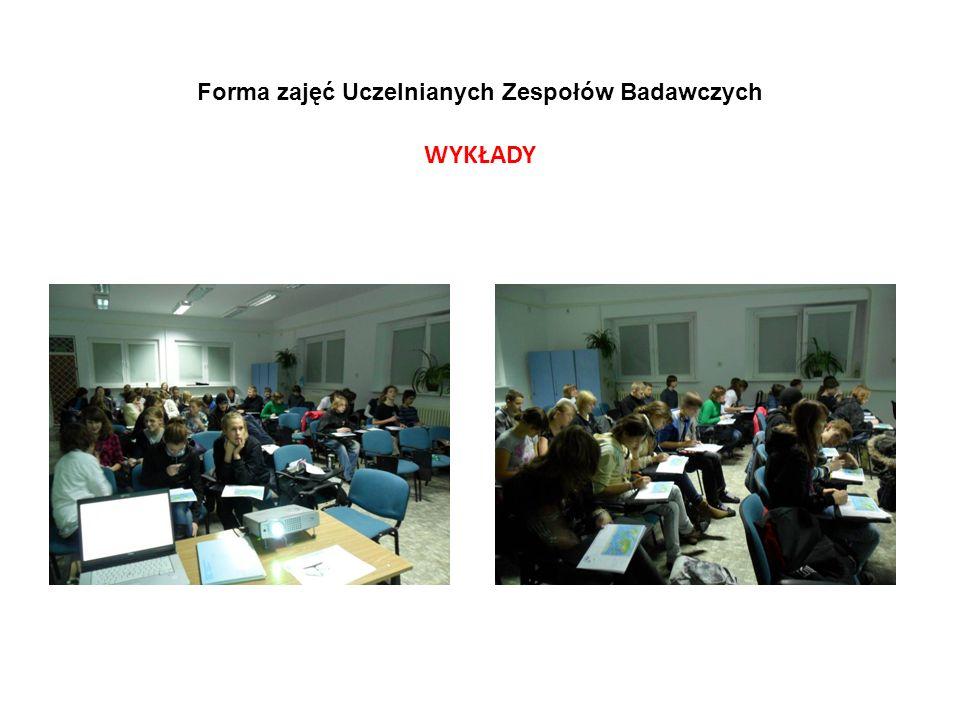 Forma zajęć Uczelnianych Zespołów Badawczych WYKŁADY