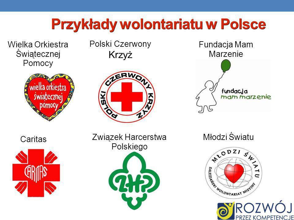 Przykłady wolontariatu w Polsce Wielka Orkiestra Świątecznej Pomocy Polski Czerwony Krzyż Fundacja Mam Marzenie Caritas Związek Harcerstwa Polskiego Młodzi Światu