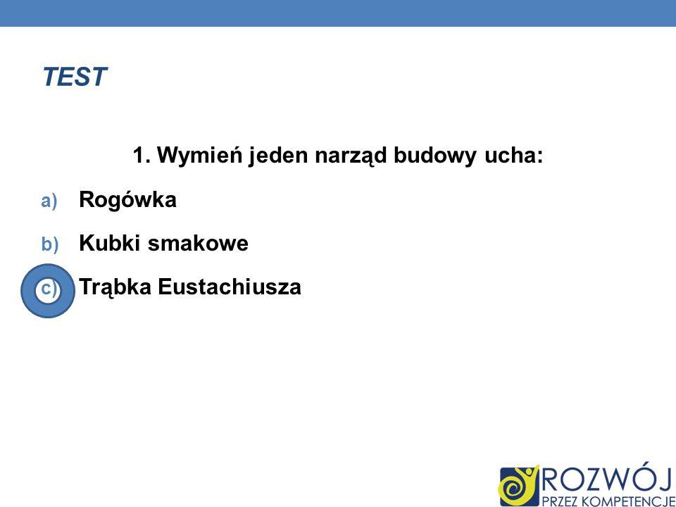 TEST 1. Wymień jeden narząd budowy ucha: a) Rogówka b) Kubki smakowe c) Trąbka Eustachiusza