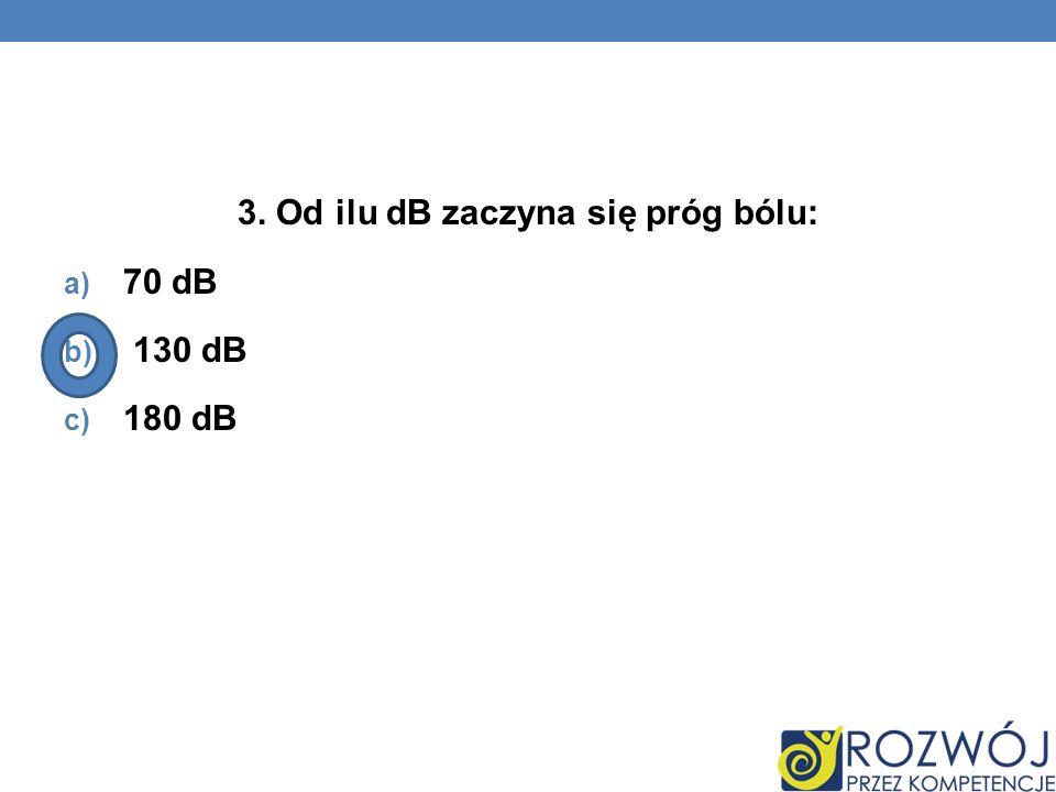 3. Od ilu dB zaczyna się próg bólu: a) 70 dB b) 130 dB c) 180 dB
