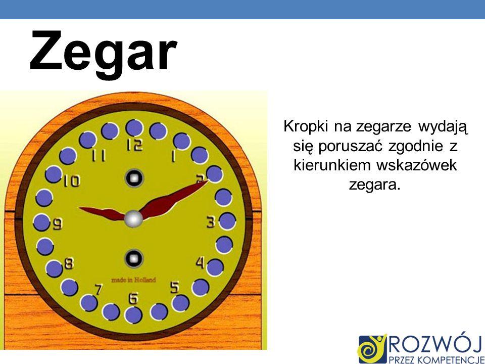 Zegar Kropki na zegarze wydają się poruszać zgodnie z kierunkiem wskazówek zegara.