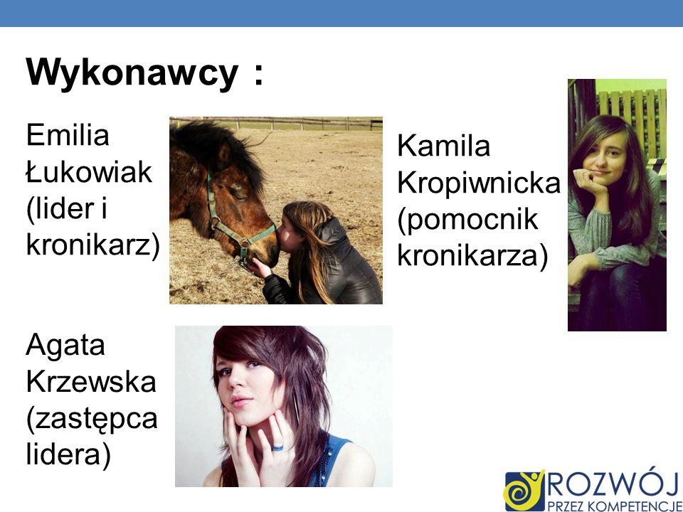 Wykonawcy : Emilia Łukowiak (lider i kronikarz) Agata Krzewska (zastępca lidera) Kamila Kropiwnicka (pomocnik kronikarza)