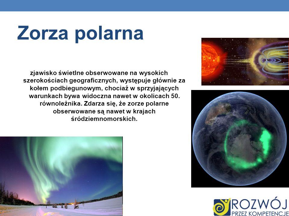 Zorza polarna zjawisko świetlne obserwowane na wysokich szerokościach geograficznych, występuje głównie za kołem podbiegunowym, chociaż w sprzyjającyc