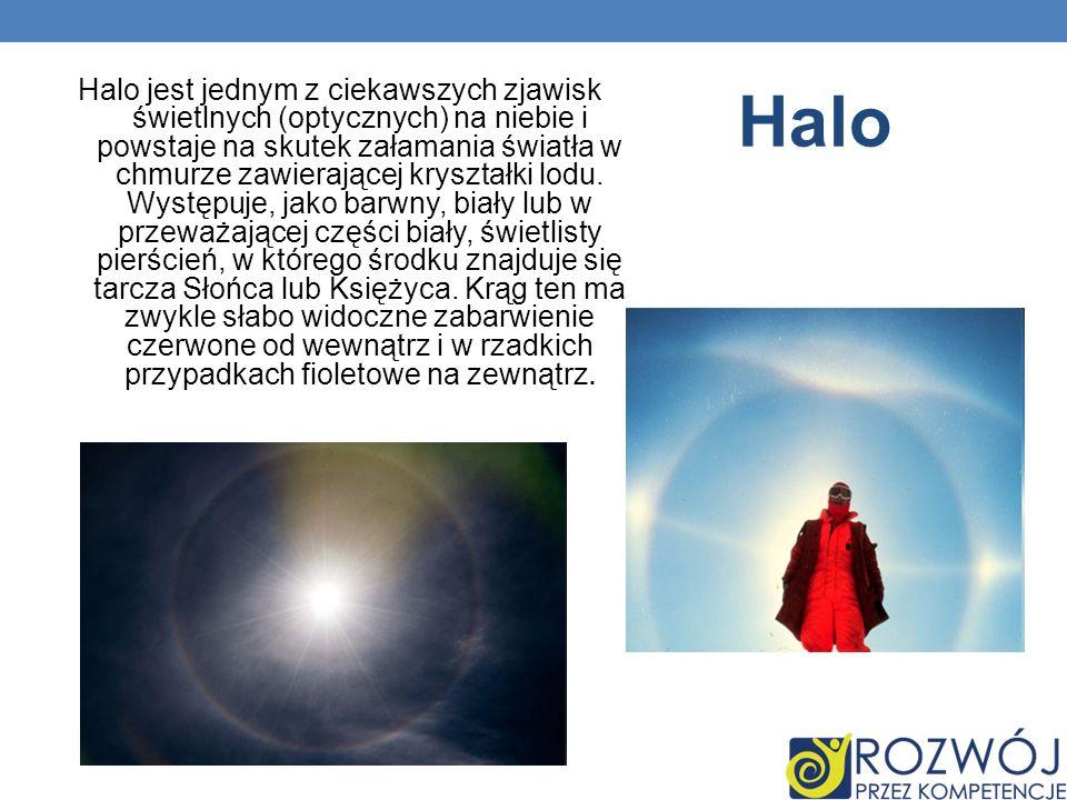 Halo jest jednym z ciekawszych zjawisk świetlnych (optycznych) na niebie i powstaje na skutek załamania światła w chmurze zawierającej kryształki lodu