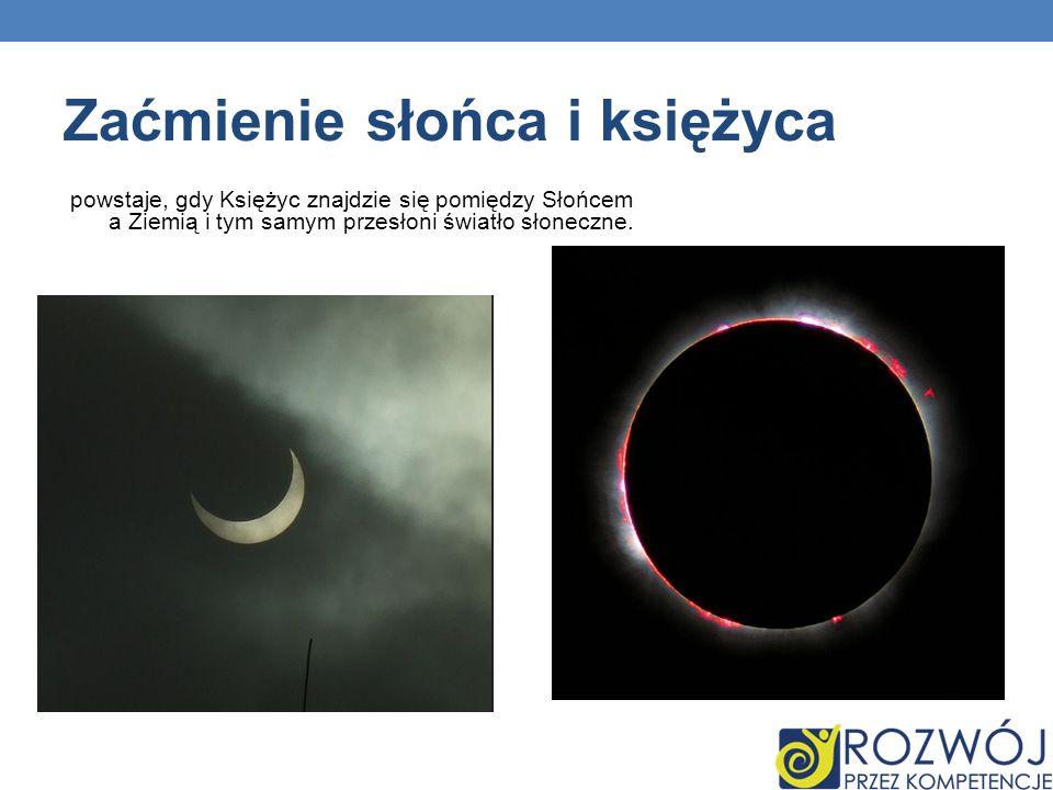 Zaćmienie słońca i księżyca powstaje, gdy Księżyc znajdzie się pomiędzy Słońcem a Ziemią i tym samym przesłoni światło słoneczne.