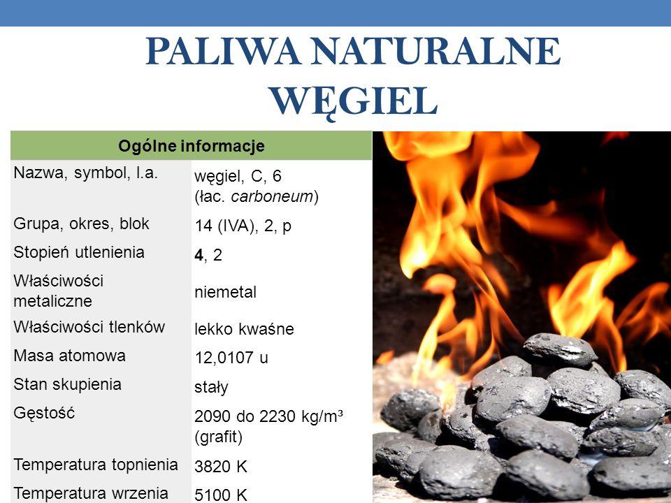 PALIWA NATURALNE W Ę GIEL Ogólne informacje Nazwa, symbol, l.a.
