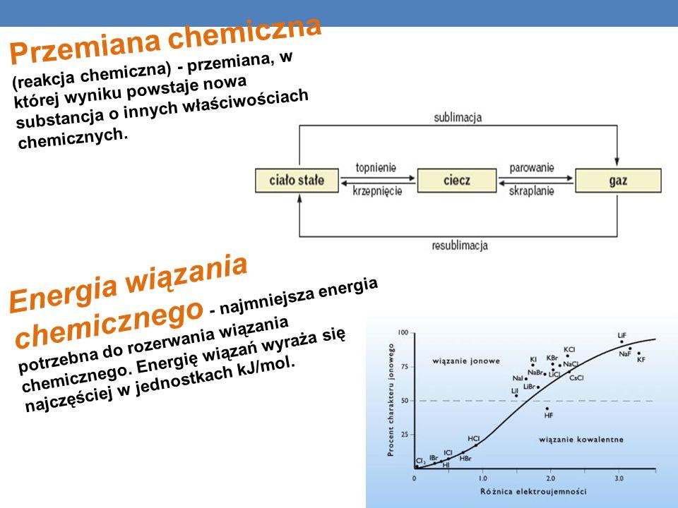 Energia wiązania chemicznego - najmniejsza energia potrzebna do rozerwania wiązania chemicznego.