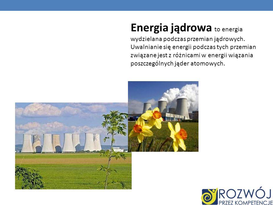 Energia jądrowa to energia wydzielana podczas przemian jądrowych.