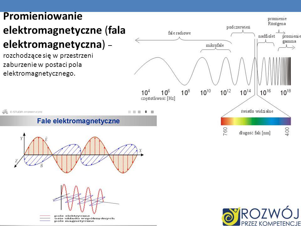 Promieniowanie elektromagnetyczne (fala elektromagnetyczna) – rozchodzące się w przestrzeni zaburzenie w postaci pola elektromagnetycznego.