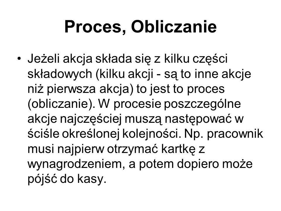 Proces, Obliczanie Jeżeli akcja składa się z kilku części składowych (kilku akcji - są to inne akcje niż pierwsza akcja) to jest to proces (obliczanie).
