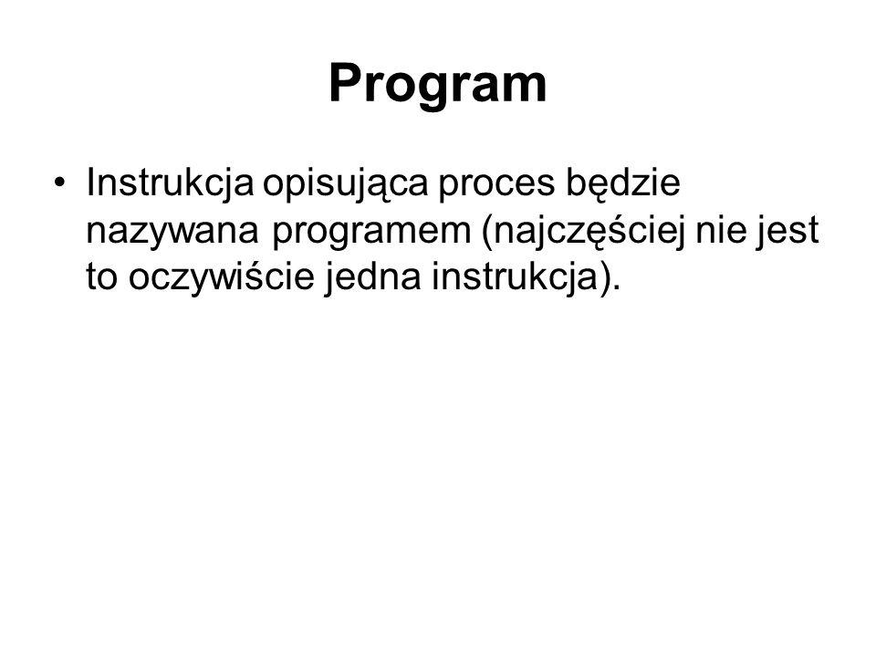 Program Instrukcja opisująca proces będzie nazywana programem (najczęściej nie jest to oczywiście jedna instrukcja).