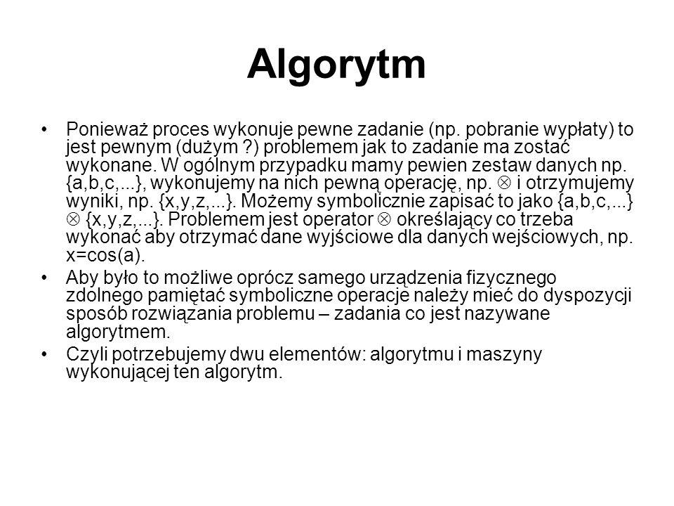 Algorytm Ponieważ proces wykonuje pewne zadanie (np.