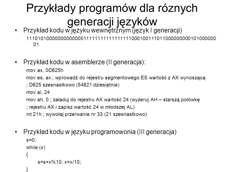 Przykłady programów dla róznych generacji języków Przykład kodu w języku wewnętrznym (język I generacji) 1110101000000000000011111111111111111000100111011000000000101000000 01 Przykład kodu w asemblerze (II generacja): mov ax, 0D625h mov es, ax ; wprowadź do rejestru segmentowego ES wartość z AX wynoszącą ; D625 szesnastkowo (54821 dziesiętnie) mov al, 24 mov ah, 0 ; załaduj do rejestru AX wartość 24 (wyzeruj AH – starszą połówkę ; rejestru AX i zapisz wartość 24 w młodszej AL) int 21h ; wywołaj przerwanie nr 33 (21 szesnastkowo) Przykład kodu w języku programowonia (III generacja) s=0; while (x) { s=s+x%10; x=x/10; }