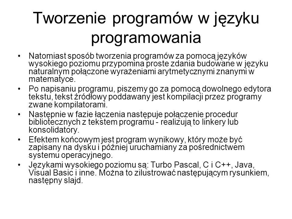 Tworzenie programów w języku programowania Natomiast sposób tworzenia programów za pomocą języków wysokiego poziomu przypomina proste zdania budowane w języku naturalnym połączone wyrażeniami arytmetycznymi znanymi w matematyce.