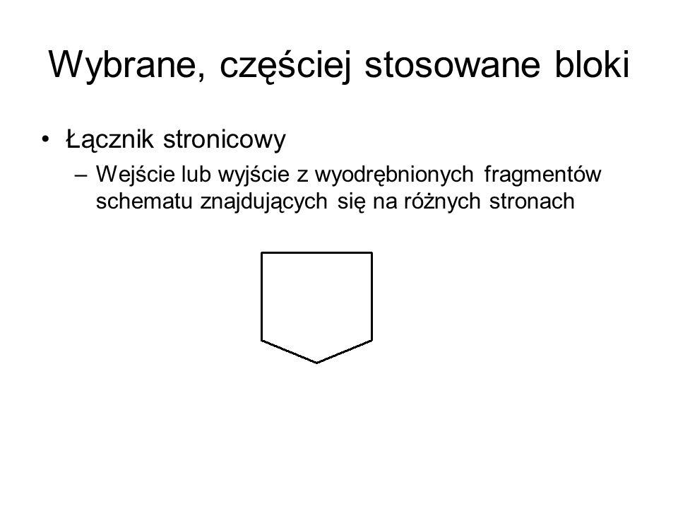 Wybrane, częściej stosowane bloki Łącznik stronicowy –Wejście lub wyjście z wyodrębnionych fragmentów schematu znajdujących się na różnych stronach