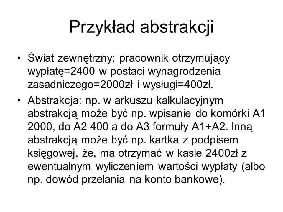 Przykład abstrakcji Świat zewnętrzny: pracownik otrzymujący wypłatę=2400 w postaci wynagrodzenia zasadniczego=2000zł i wysługi=400zł. Abstrakcja: np.