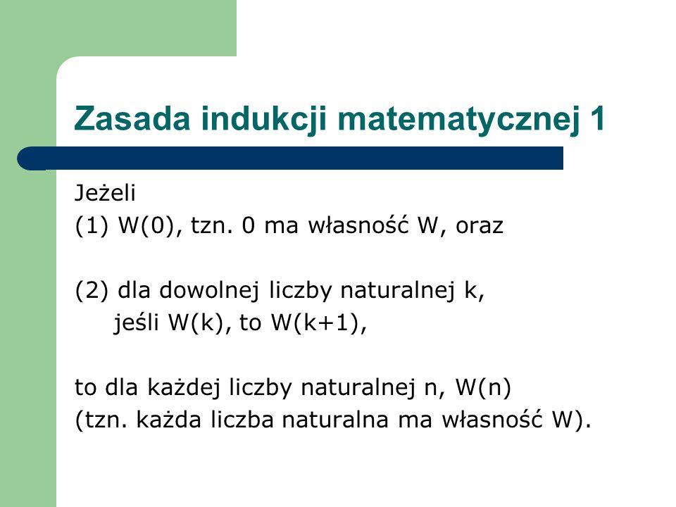 Zasada indukcji matematycznej 1 Jeżeli (1) W(0), tzn. 0 ma własność W, oraz (2) dla dowolnej liczby naturalnej k, jeśli W(k), to W(k+1), to dla każdej