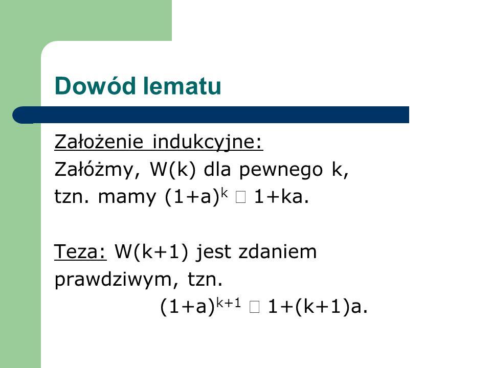 Dowód lematu Założenie indukcyjne: Załóżmy, W(k) dla pewnego k, tzn. mamy (1+a) k 1+ka. Teza: W(k+1) jest zdaniem prawdziwym, tzn. (1+a) k+1 1+(k+1)a.