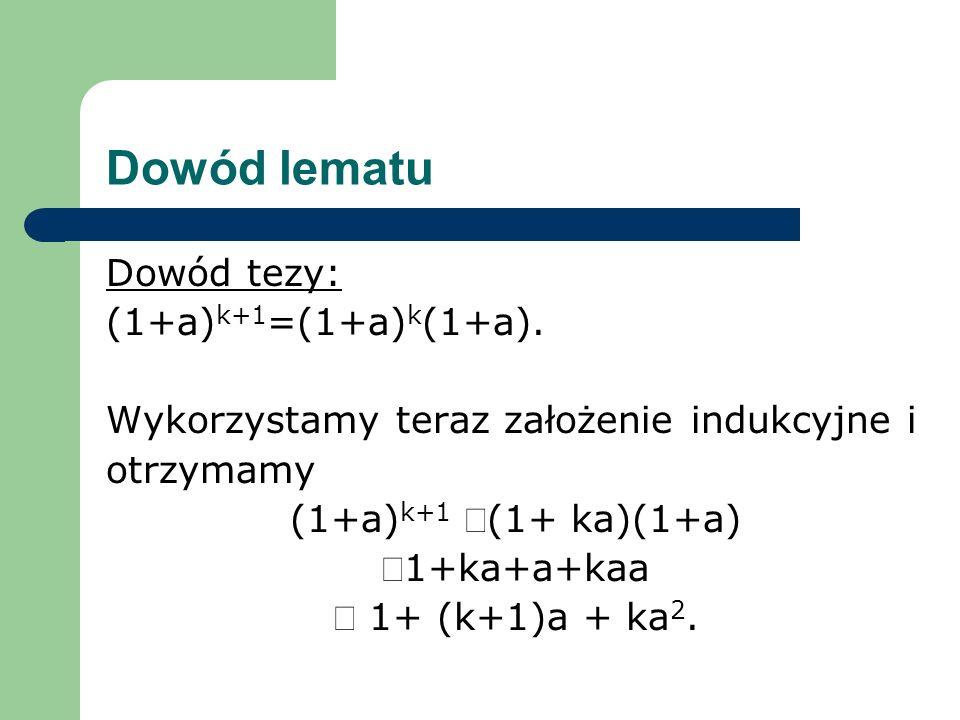 Dowód lematu Dowód tezy: (1+a) k+1 =(1+a) k (1+a). Wykorzystamy teraz założenie indukcyjne i otrzymamy (1+a) k+1 (1+ ka)(1+a) 1+ka+a+kaa 1+ (k+1)a + k