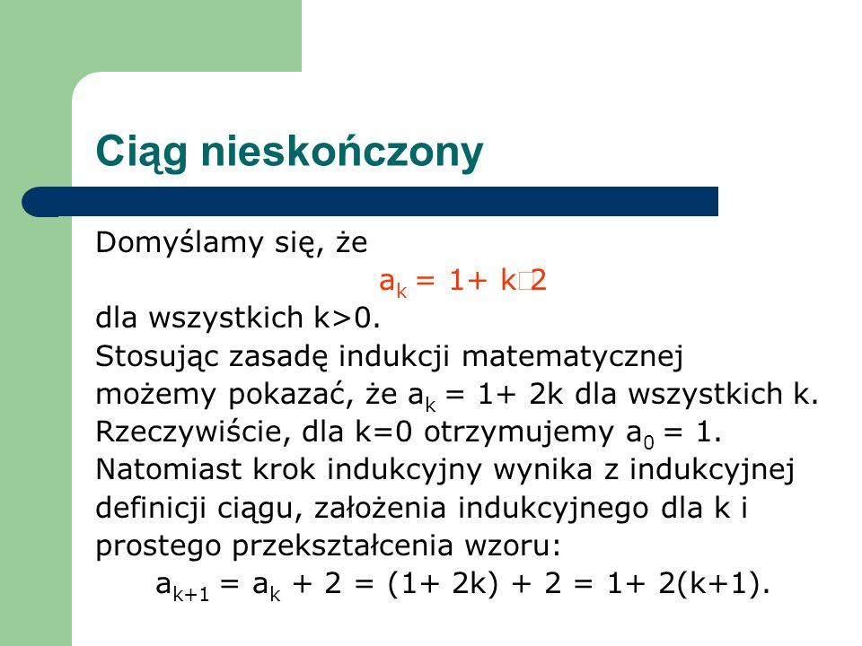 Ciąg nieskończony Domyślamy się, że a k = 1+ k2 dla wszystkich k>0. Stosując zasadę indukcji matematycznej możemy pokazać, że a k = 1+ 2k dla wszystki