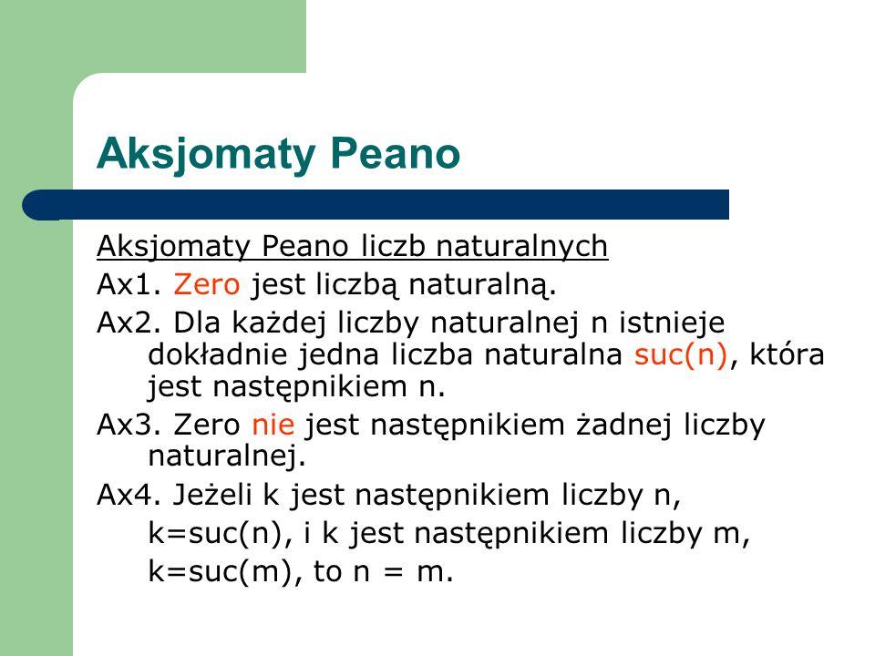 Aksjomaty Peano Aksjomaty Peano liczb naturalnych Ax1. Zero jest liczbą naturalną. Ax2. Dla każdej liczby naturalnej n istnieje dokładnie jedna liczba