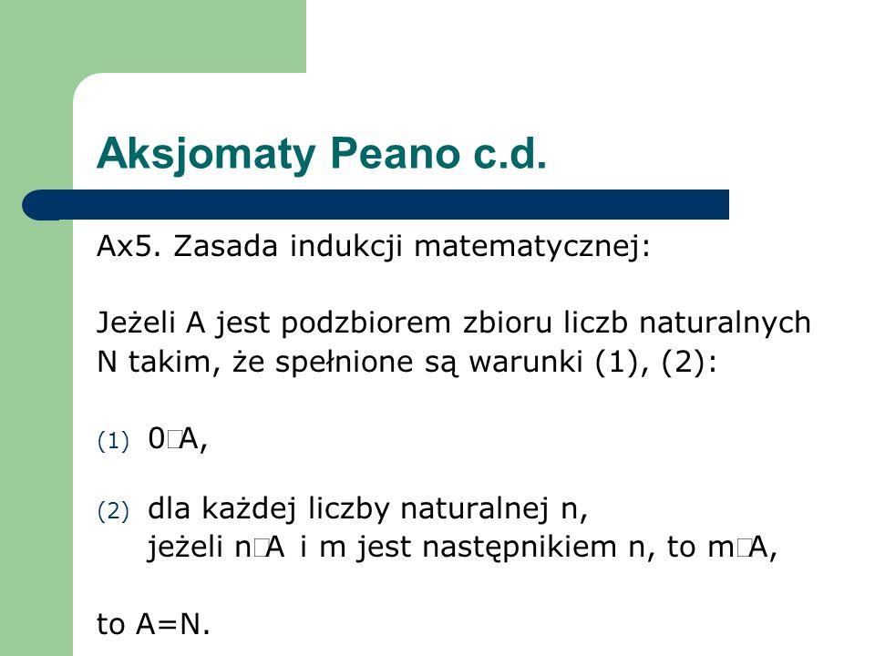 Aksjomaty Peano c.d. Ax5. Zasada indukcji matematycznej: Jeżeli A jest podzbiorem zbioru liczb naturalnych N takim, że spełnione są warunki (1), (2):