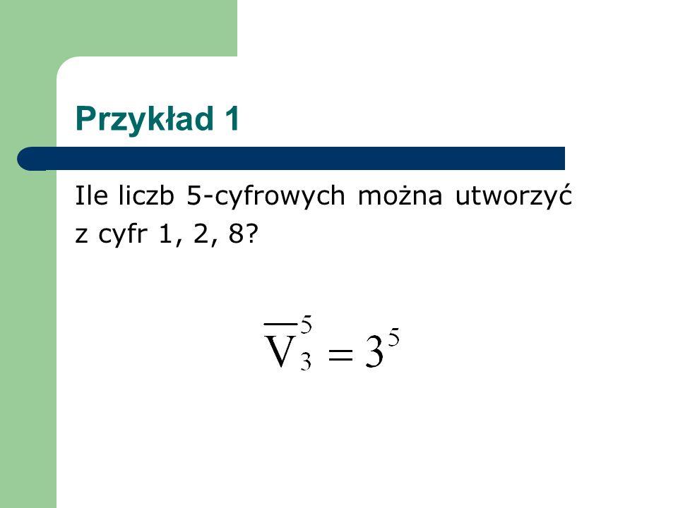 Przykład 1 Ile liczb 5-cyfrowych można utworzyć z cyfr 1, 2, 8?