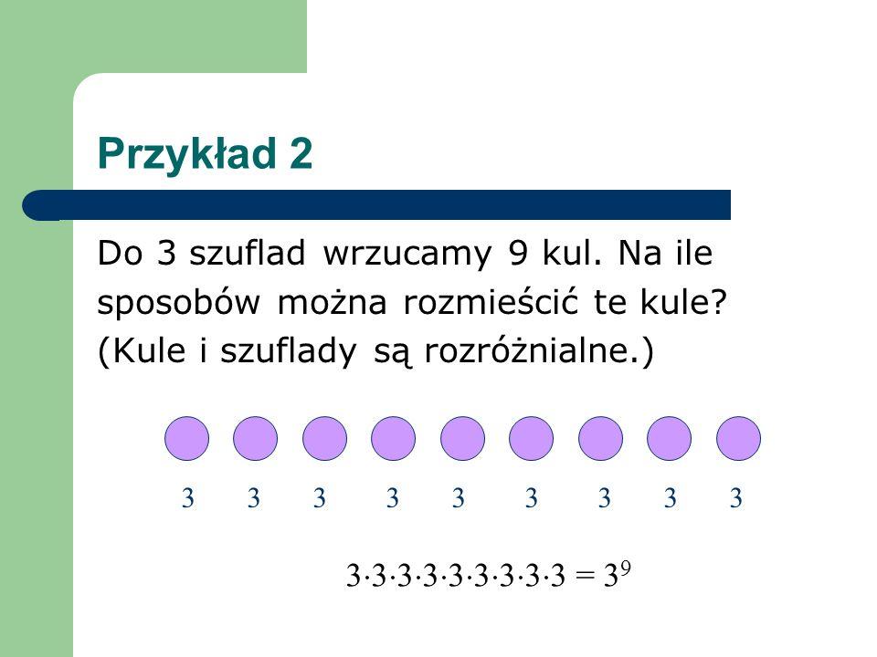 Przykład 2 Do 3 szuflad wrzucamy 9 kul.Na ile sposobów można rozmieścić te kule.