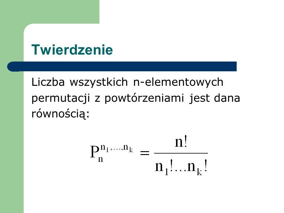 Twierdzenie Liczba wszystkich n-elementowych permutacji z powtórzeniami jest dana równością: