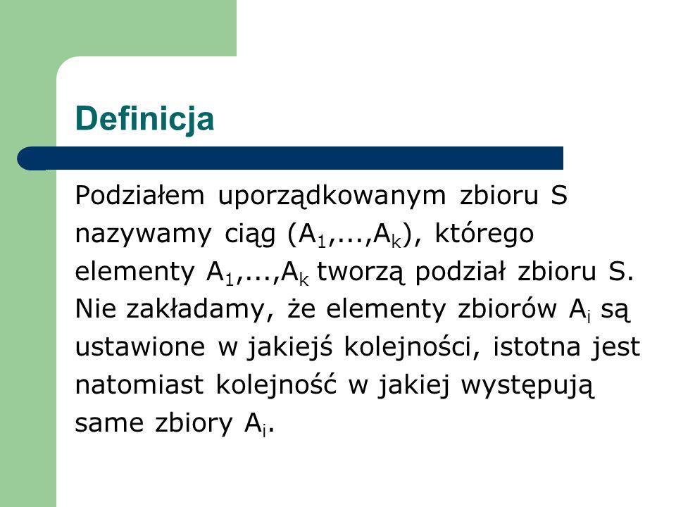 Definicja Podziałem uporządkowanym zbioru S nazywamy ciąg (A 1,...,A k ), którego elementy A 1,...,A k tworzą podział zbioru S.