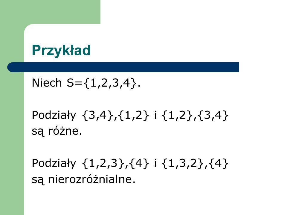 Przykład Niech S={1,2,3,4}.Podziały {3,4},{1,2} i {1,2},{3,4} są różne.
