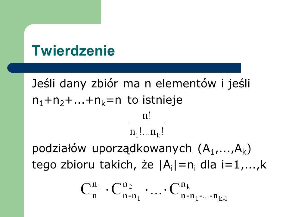 Twierdzenie Jeśli dany zbiór ma n elementów i jeśli n 1 +n 2 +...+n k =n to istnieje podziałów uporządkowanych (A 1,...,A k ) tego zbioru takich, że |A i |=n i dla i=1,...,k