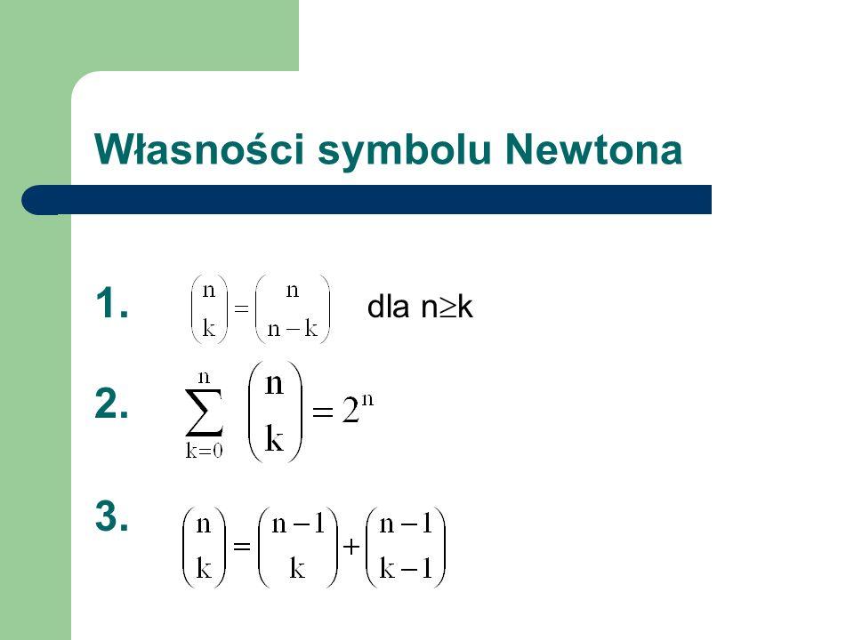 Własności symbolu Newtona 1. dla n k 2. 3.