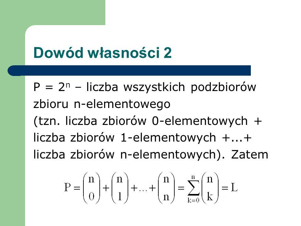 Dowód własności 2 P = 2 n – liczba wszystkich podzbiorów zbioru n-elementowego (tzn.
