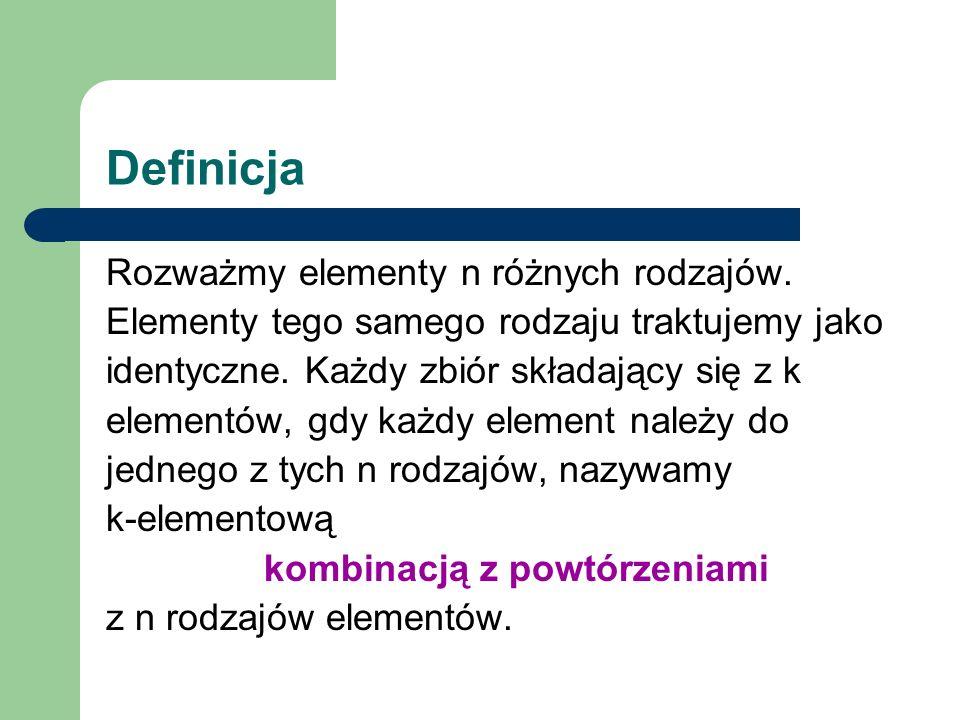 Definicja Rozważmy elementy n różnych rodzajów.