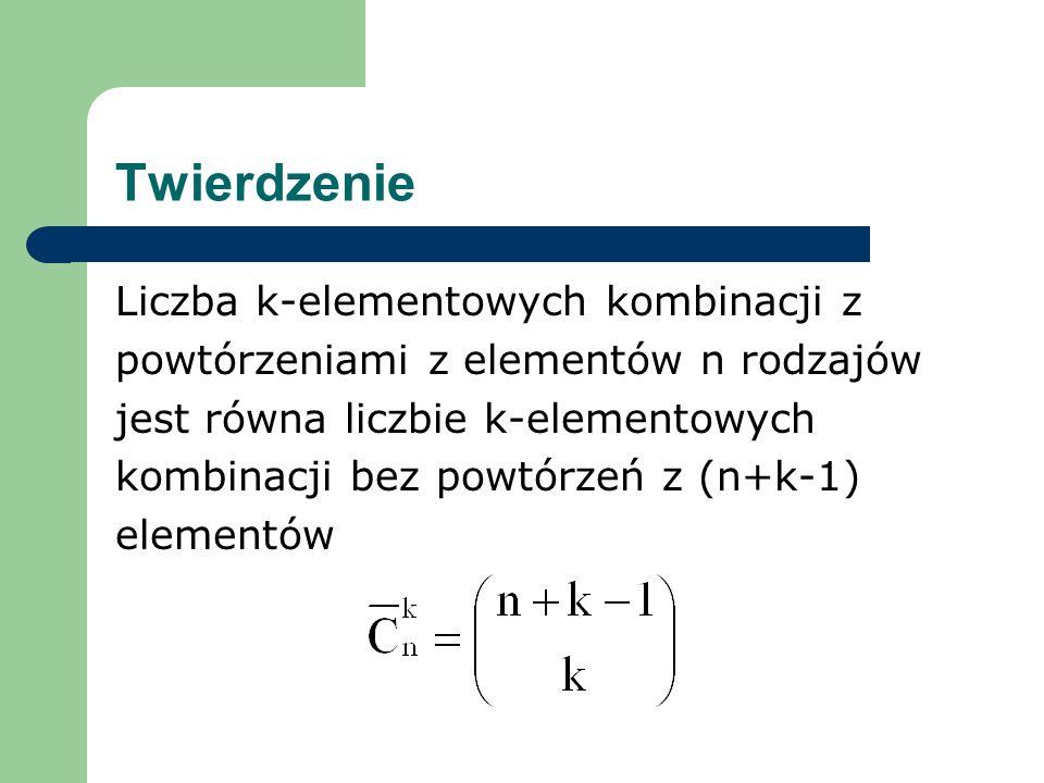 Twierdzenie Liczba k-elementowych kombinacji z powtórzeniami z elementów n rodzajów jest równa liczbie k-elementowych kombinacji bez powtórzeń z (n+k-1) elementów