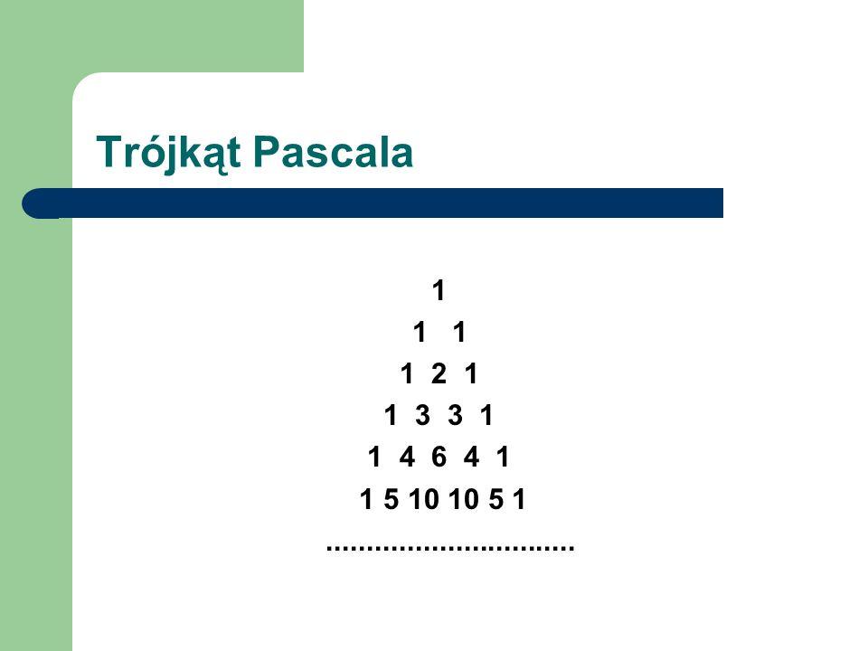 Trójkąt Pascala 1 1 1 1 2 1 1 3 3 1 1 4 6 4 1 1 5 10 10 5 1...............................
