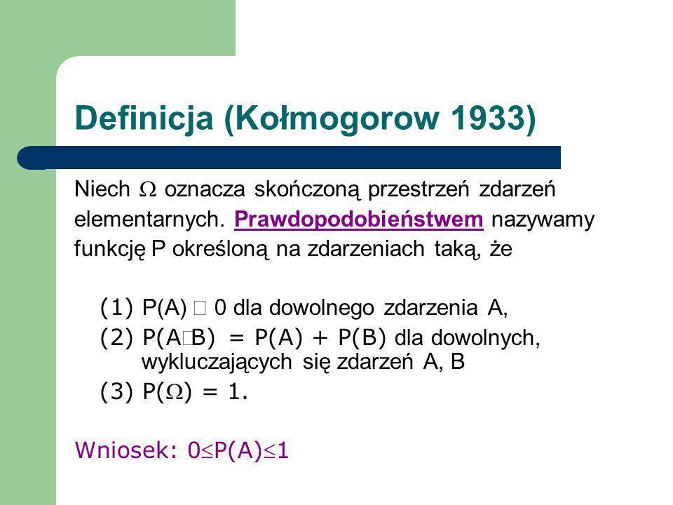 Definicja (Kołmogorow 1933) Niech oznacza skończoną przestrzeń zdarzeń elementarnych. Prawdopodobieństwem nazywamy funkcję P określoną na zdarzeniach