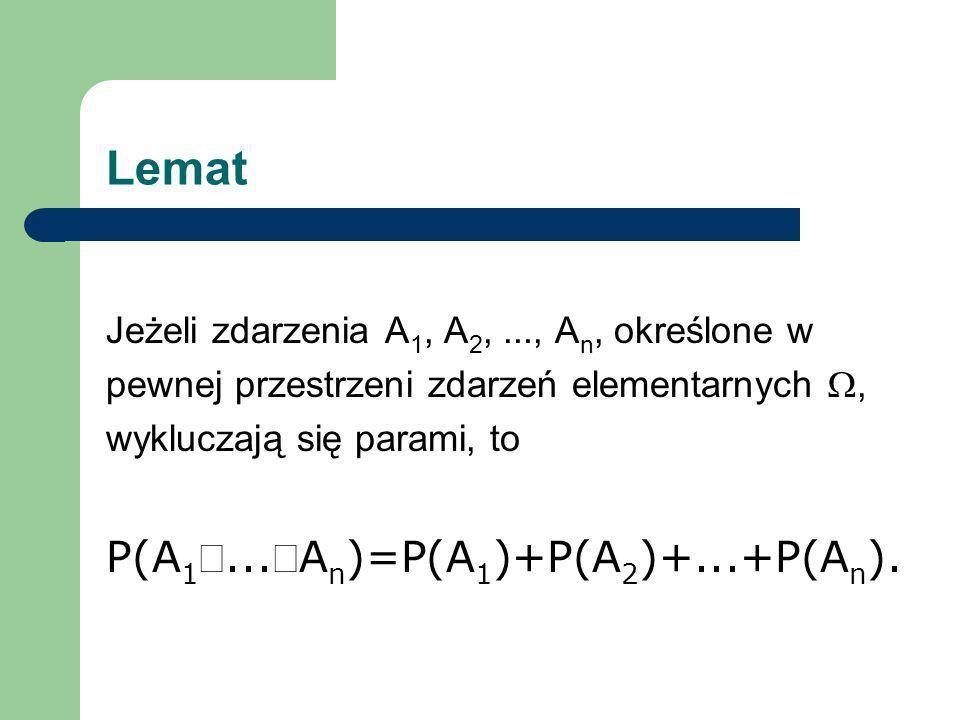 Lemat Jeżeli zdarzenia A 1, A 2,..., A n, określone w pewnej przestrzeni zdarzeń elementarnych, wykluczają się parami, to P(A 1...A n )=P(A 1 )+P(A 2