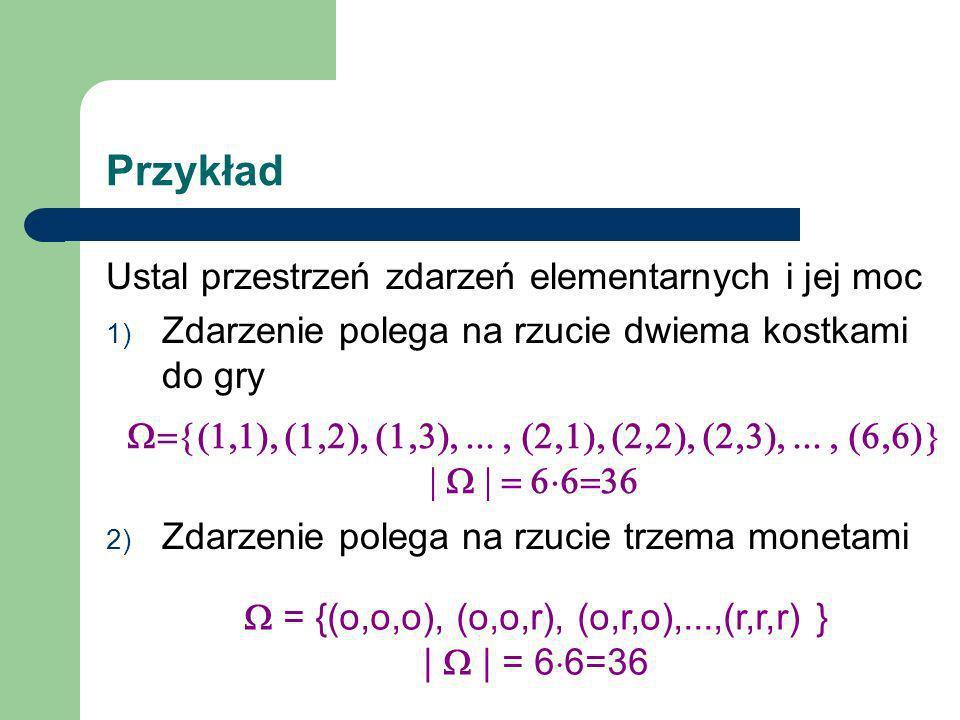 Przykład Ustal przestrzeń zdarzeń elementarnych i jej moc 1) Zdarzenie polega na rzucie dwiema kostkami do gry 2) Zdarzenie polega na rzucie trzema mo