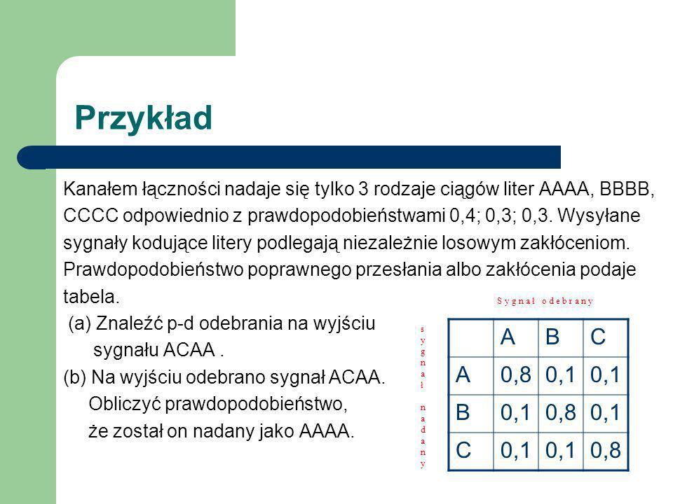 Przykład Kanałem łączności nadaje się tylko 3 rodzaje ciągów liter AAAA, BBBB, CCCC odpowiednio z prawdopodobieństwami 0,4; 0,3; 0,3. Wysyłane sygnały