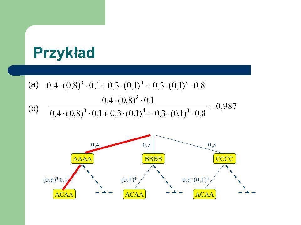 Przykład (a) (b) AAAABBBBCCCC ACAA (0,8) 3 0,1 (0,1) 4 0,8 (0,1) 3 0,4 0,3 0,3
