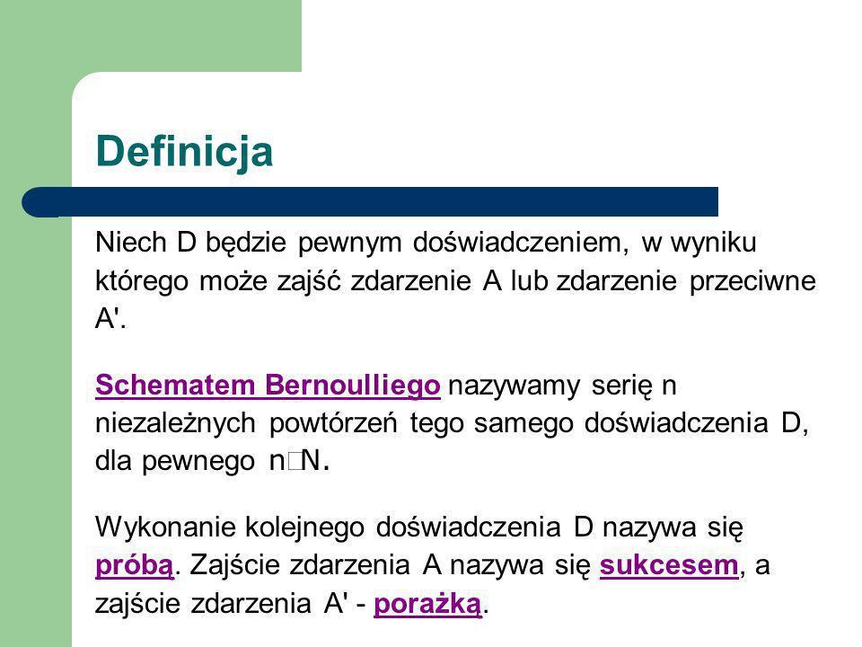 Definicja Niech D będzie pewnym doświadczeniem, w wyniku którego może zajść zdarzenie A lub zdarzenie przeciwne A'. Schematem Bernoulliego nazywamy se