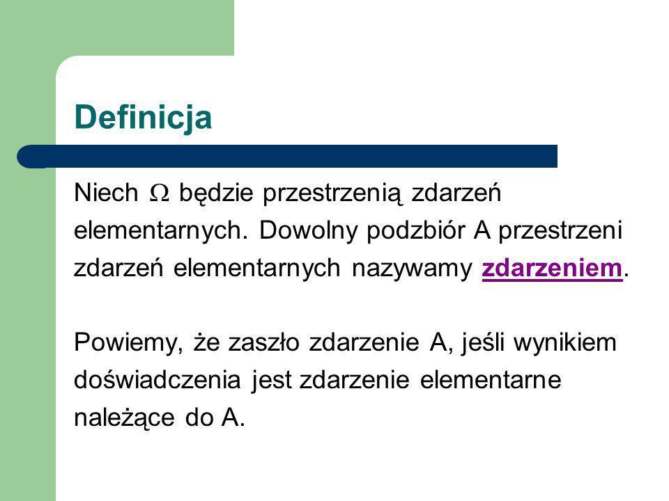 Definicja Niech D będzie pewnym doświadczeniem, w wyniku którego może zajść zdarzenie A lub zdarzenie przeciwne A .