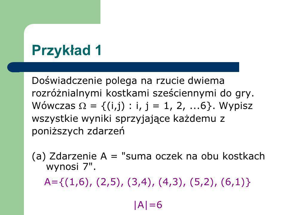 Przykład 1 Doświadczenie polega na rzucie dwiema rozróżnialnymi kostkami sześciennymi do gry. Wówczas = {(i,j) : i, j = 1, 2,...6}. Wypisz wszystkie w