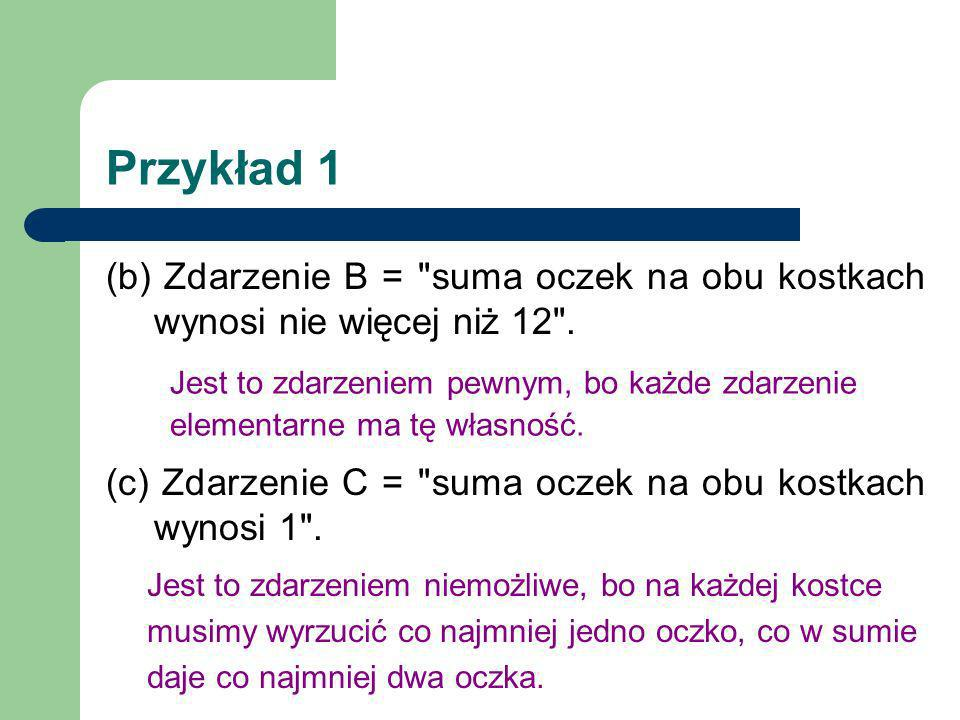 Przykład 2 Rozważmy doświadczenie z przykładu 1.
